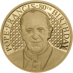 Pope Francis - 80th Birthday, 11mm gold coin