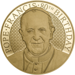 Pope Francis - 80th Birthday, 26mm gold coin