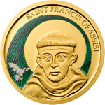 Saint Francis of Assisi - colored coin