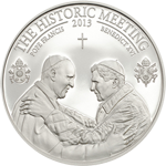 The Historic Meeting - Two Popes silver